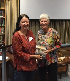 Diana Newton Parker, author's sister and coordinator of event with winner of one of Gil's books, Sue Boynton